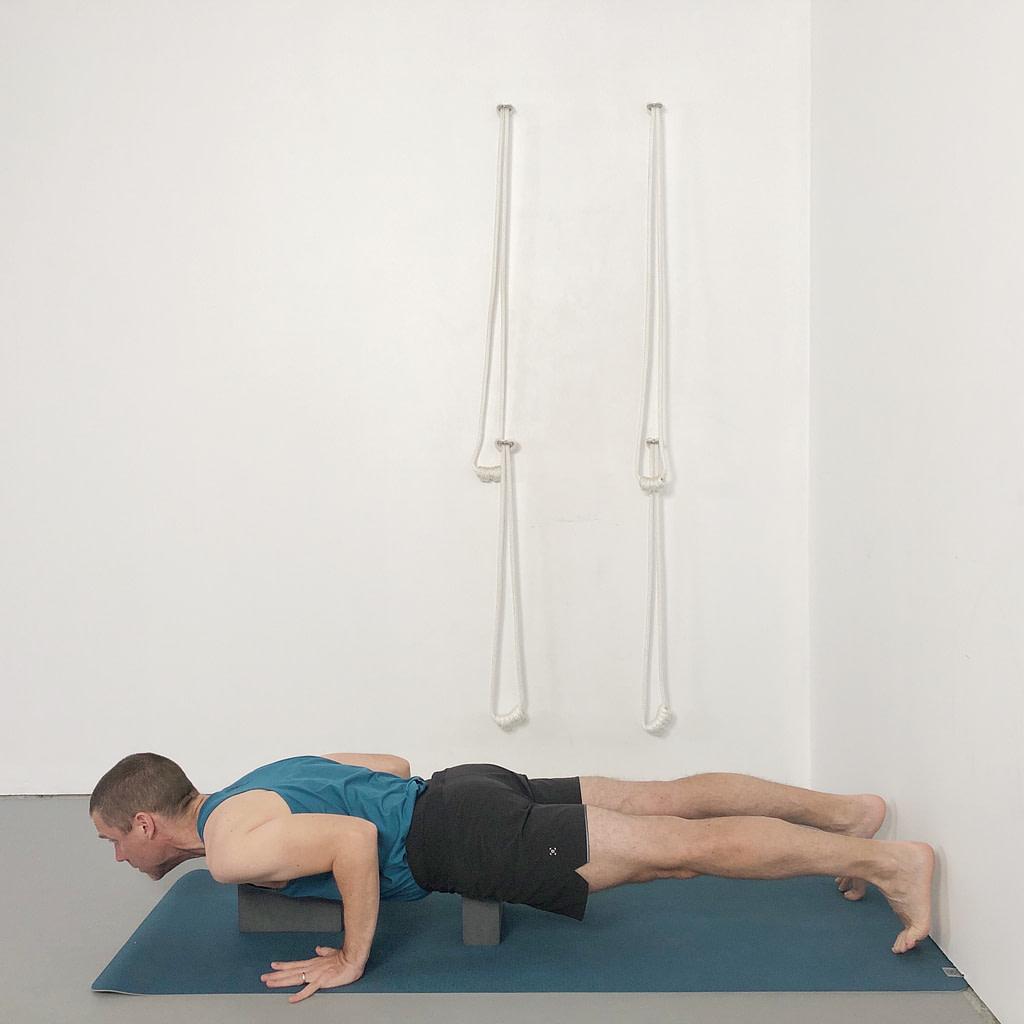 chaturanga with blocks under chest and pelvis