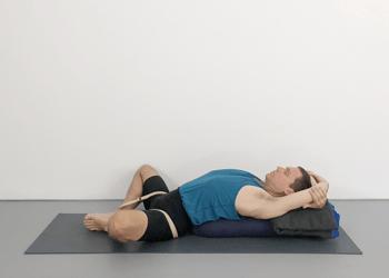 supta baddha konasana  reclining bound angle pose  yoga